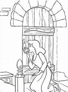 cinderella is standing in front of house coloring page