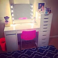 my vanity setup using mostly ikea items kolja mirror musik lights diy corded micke desk alex