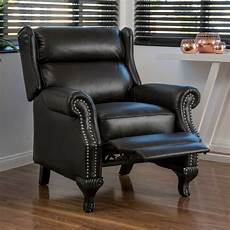 Traditional Black Leather Recliner Club Chair Ebay