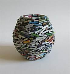 Vase Handgemacht Aus Altpapier Zeitung Reklame