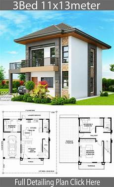simple house plans in philippines home design plan 11x13m with 3 bedrooms home design with