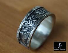 unique silver wedding band cuttlebone rustic mens ring mens wedding band unique wedding