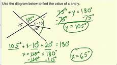 finding the value of angles formed by intersecting lines geometry youtube