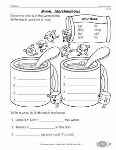 worksheets kindergarten 15528 mmmm marshmallows lesson plans the mailbox word families word family worksheets family
