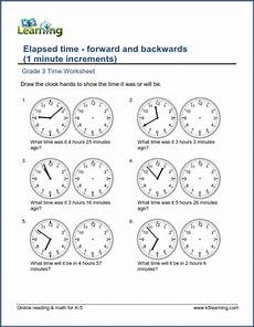 telling time math worksheets 3rd grade 3654 grade 3 time worksheet changes in time 1 minute intervals k5 learning