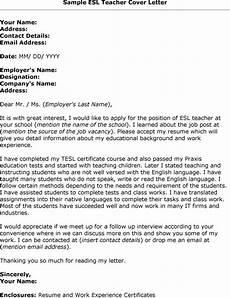 application letter esl teacher