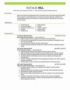 call center representative customer service resume exle