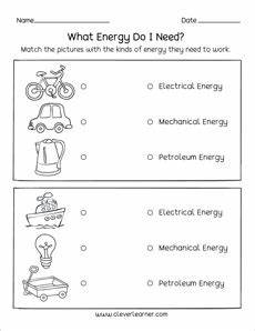 sources of energy printables and worksheets for first