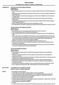 cloud network engineer resume sles velvet