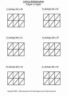 lattice multiplication template free pdf to practice lattice method