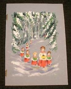 merry christmas choir singing in woods w lantern 6 5x9 quot greeting card art bb2 ebay