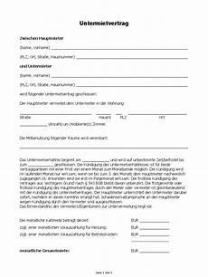 Mietvertrag Zimmer - untermietvertrag muster