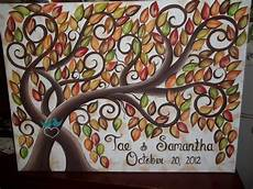 wedding guest book signature tree 100 painted fall leaves 16 20 stretched canvas via