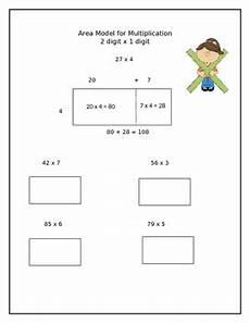 multiplication worksheets area model 4309 2 digit x 1 digit area model for multiplication worksheet 4 nbt 5