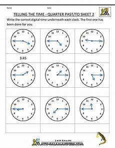maths time worksheets for grade 5 3318 clock worksheets quarter past and quarter to with images time worksheets telling time