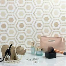 Mosaik Fliesen Muster Ideen - hexagon fliesen idee muster mosaik steinchen beige wei 223