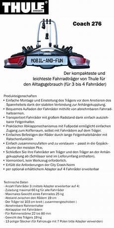 Thule Coach 276 Ahk Fahrradtr 228 Ger Hecktr 228 Ger