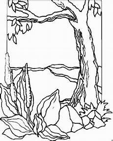 malvorlagen landschaften gratis und original baum mit blumen und steinen ausmalbild malvorlage