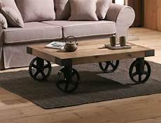 Table Basse Industrielle Roulettes Landaise Tables