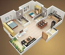 3 Ideas For A 2 Bedroom Home Includes Floor 3d two bedroom house layout design plans 22449 interior