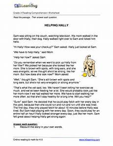 fillable online reading comprehension worksheet hally grade 3 free and printable reading