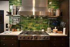 Green Kitchen Backsplash Crafty Faux Glass Tile Backsplash