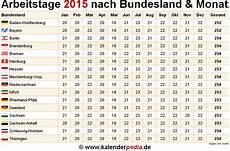 anzahl arbeitstage 2015 in deutschland nach bundesland monat