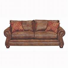tahoe 90 quot brown faux leather sofa sleeper