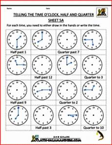 time worksheets telling the time quot half past quot quot quarter to