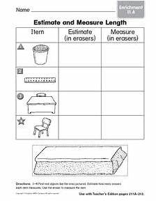 estimate and measure length enrichment 1st 2nd grade worksheet lesson planet