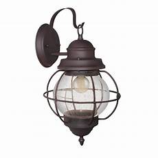 lnc globe 1 light bronze outdoor wall lantern with seeded glass a03195 the home depot