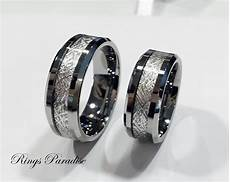 men s tungsten wedding band meteorite inlay ring by