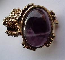 yves laurent arty ring gold plated with purple