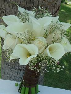 lilies flowers for weddings bouquet bridal white calla lilies roses and baby s breath