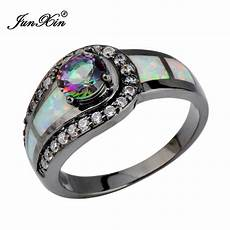 rainbow ball opal ring black gold filled jewelry