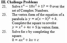 completing the square worksheet pdf with answer key 25