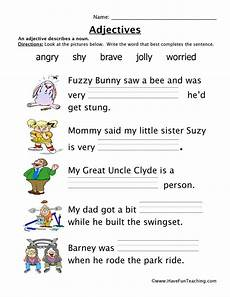 adjectives worksheet have fun teaching