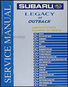 car repair manuals download 2001 subaru legacy lane departure warning 2001 subaru legacy outback 6 cylinder repair shop manual supplement