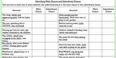 identifying main clauses and subordinate clauses ks2 spag