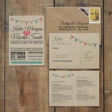 Bunting Invitations Wedding vintage bunting kraft wedding invitation by feel