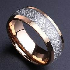 alibaba aliexpress 8mm domed rose gold color tungsten ring with meteorite inlay men