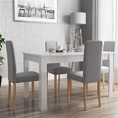Esstisch Hochglanz Grau - vivienne white high gloss dining table 4 grey fabric