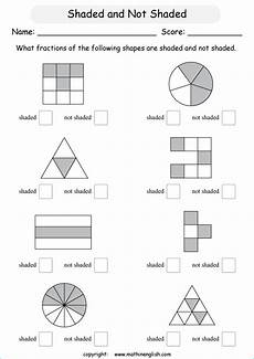 fraction worksheets shaded unshaded 4095 what fraction is these shapes is shaded and what fraction is not shaded great grade 2 math