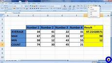 excel formula average max min count youtube