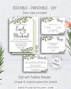greenery diy invitation suite wedding watercolour wedding invite invitation template