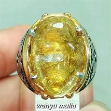 Cincin Batu Akik Kecubung Rambut Emas Asli Kode 1292