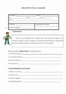 6th grade english test esl worksheet by arta