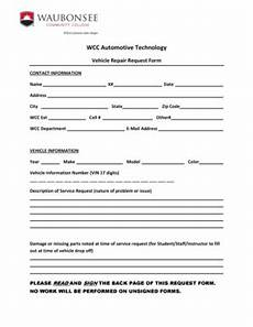 fillable online waubonsee request for vehicle repair form waubonsee community college
