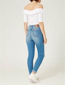 jean taille haute medium blue femme jennyfer