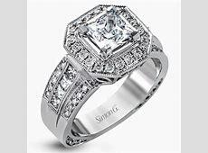 "Simon G. 18K Gold ""Princess Cut"" Halo Engagement Ring"